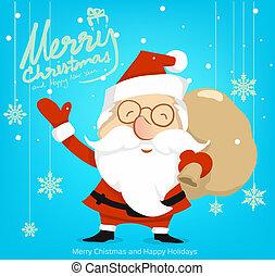 クリスマス, 雪, 漫画, 陽気, santaclaus