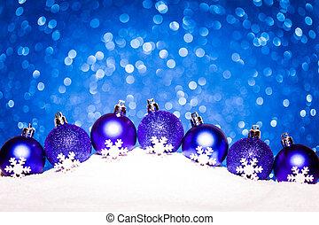 クリスマス, 青, ボール, 中に, 雪, 上に, きらめき, 背景