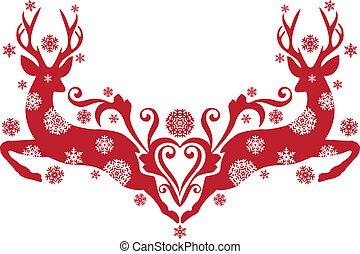 クリスマス, 鹿, ベクトル