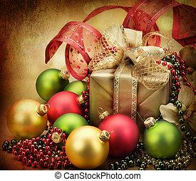 クリスマス, card., レトロ, スタイルを作られる, 贈り物