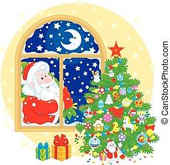 クリスマス, claus, 木, santa