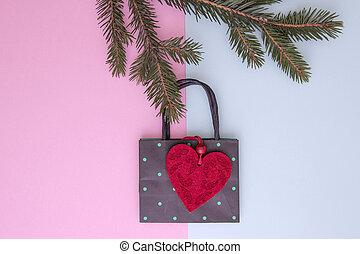 クリスマス, composition., 買い物袋, 待つ, ∥, クリスマスツリー, 小枝, ∥ように∥, decoration., 店, セール, そして, 贈り物, concept., 上, ビュー。, 平ら, 位置
