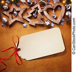 クリスマス, decoration;, 背景, 木