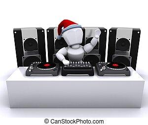 クリスマス, dj, 混合, レコード, 上に, ターンテーブル
