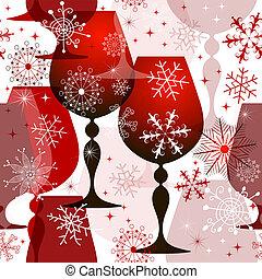 クリスマス, red-white, seamless, パターン