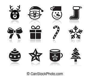 クリスマス, s, 黒, 影, アイコン