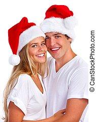 クリスマス, santa, カップル。