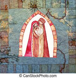 クリスマス, scene:, キリスト, イエス・キリスト, nativity, ヨセフ, mary