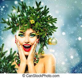 クリスマス, woman., クリスマスの 休日, ヘアスタイル, そして, 構造