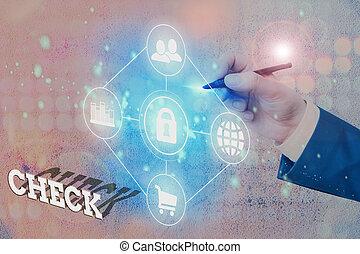 クリック, 写真, テキスト, 印, 提示, 箱, check., 概念, 選択, 印, form., 選り抜き, 特定, 順序