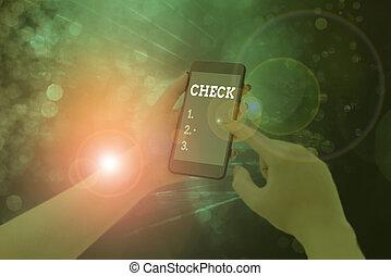クリック, 手の執筆, 印, 写真, 箱, テキスト, 提示, check., 選択, 概念, form., 選り抜き, 特定, 順序, ビジネス
