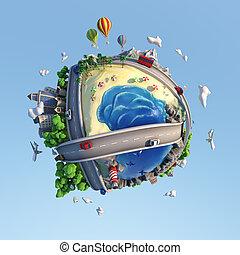 クリッピング道, 幸せ, ムード, 背景, 都市, illustration., ライフスタイル, 多様性, 道, 風景...