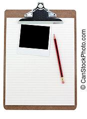 クリップボード, 罫線付きのペーパー, そして, 写真
