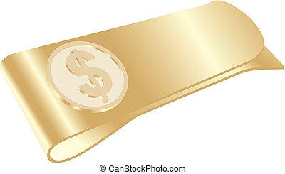 クリップ, ドル, お金, 金