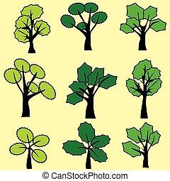 クリップ, 抽象的, 木, ベクトル, 緑, graphic., art.