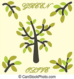 クリップ, graphic., 木, ベクトル, 緑, art., olive.