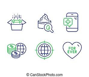 クリーム, アイコン, set., パッキング, お金, moisturizing, 電話の箱, ベクトル, インターネット, seo, 世界, 今までに, 医学, signs.