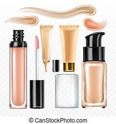 クリーム, パッケージ, セット, ベクトル, 化粧品, 美顔術, concealer