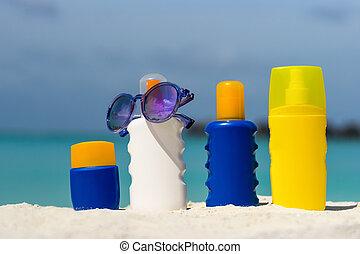 クリーム, 浜, びん, sunscreen
