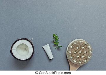 クリーム, 灰色, 体, ブラシ, care., 家, ココナッツ, 化粧品, 自然, 皮膚, 背景