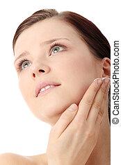 クリーム, moisturizer, 女, 適用, 顔