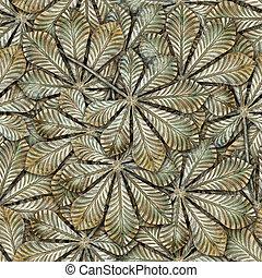 クリ, バックグラウンド。, 銅, leafs, seamless