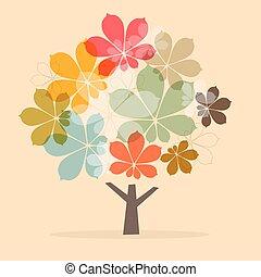 クリ, 抽象的, 木, イラスト, ペーパー, ベクトル, レトロ