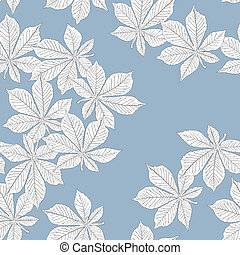 クリ, pattern., leaves., seamless