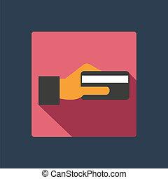 クレジットカード, 中に, 手, アイコン