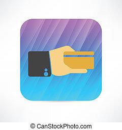 クレジットカード, 中に, a, 手, アイコン