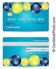 クレジットカード, -, 背中, 版, 前部, クリスマス, 光景