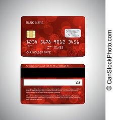 クレジットカード, 背景, 赤, 雪片