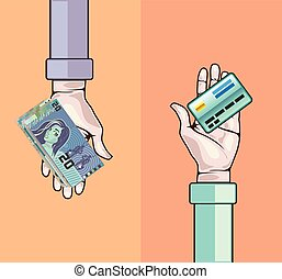 クレジット, お金, カードの手, 寄付