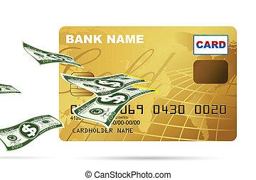 クレジット, から, ドル, カード, 到来