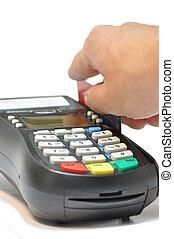 クレジット, に対して, カード, 背景, 隔離された, 読者, 白