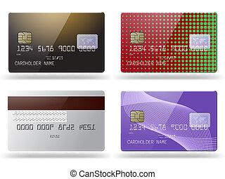 クレジット, カード。, セット, グロッシー