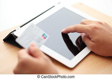 クレジット, タブレット, 買い物, カード, オンラインで