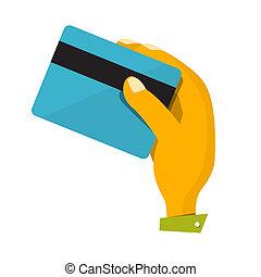 クレジット, ベクトル, カード, イラスト, 手