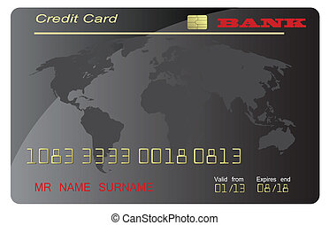 クレジット, ベクトル, 黒, カード