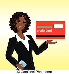 クレジット, 女, 黒, カード