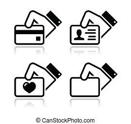 クレジット, 手の 保有物, カード, アイコン