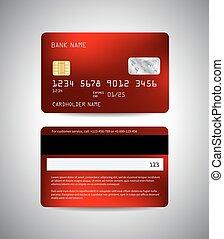 クレジット, 抽象的, セット, カード, 背景, 赤