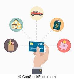 クレジット, 支払い, card.