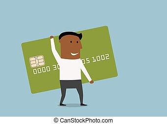 クレジット, 行く, カード, ビジネスマン, 手