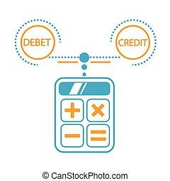 クレジット, 計算, 概念, 借方