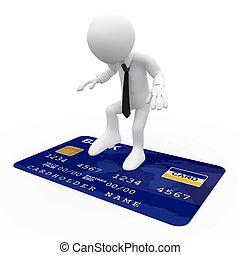 クレジット, 青, カード, 人, 上