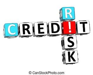 クレジット, 3d, 危険, クロスワードパズル