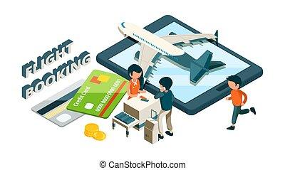 クレジット, booking., 飛行, 等大, ベクトル, 飛行機, カード, 乗客, concept., 購入, ...