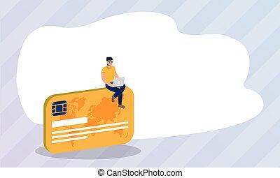 クレジット, ecommerce, オンライン ショッピング, ラップトップ, カード, 使うこと, 人