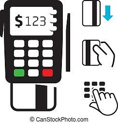 クレジット, pos-terminal, カード, アイコン